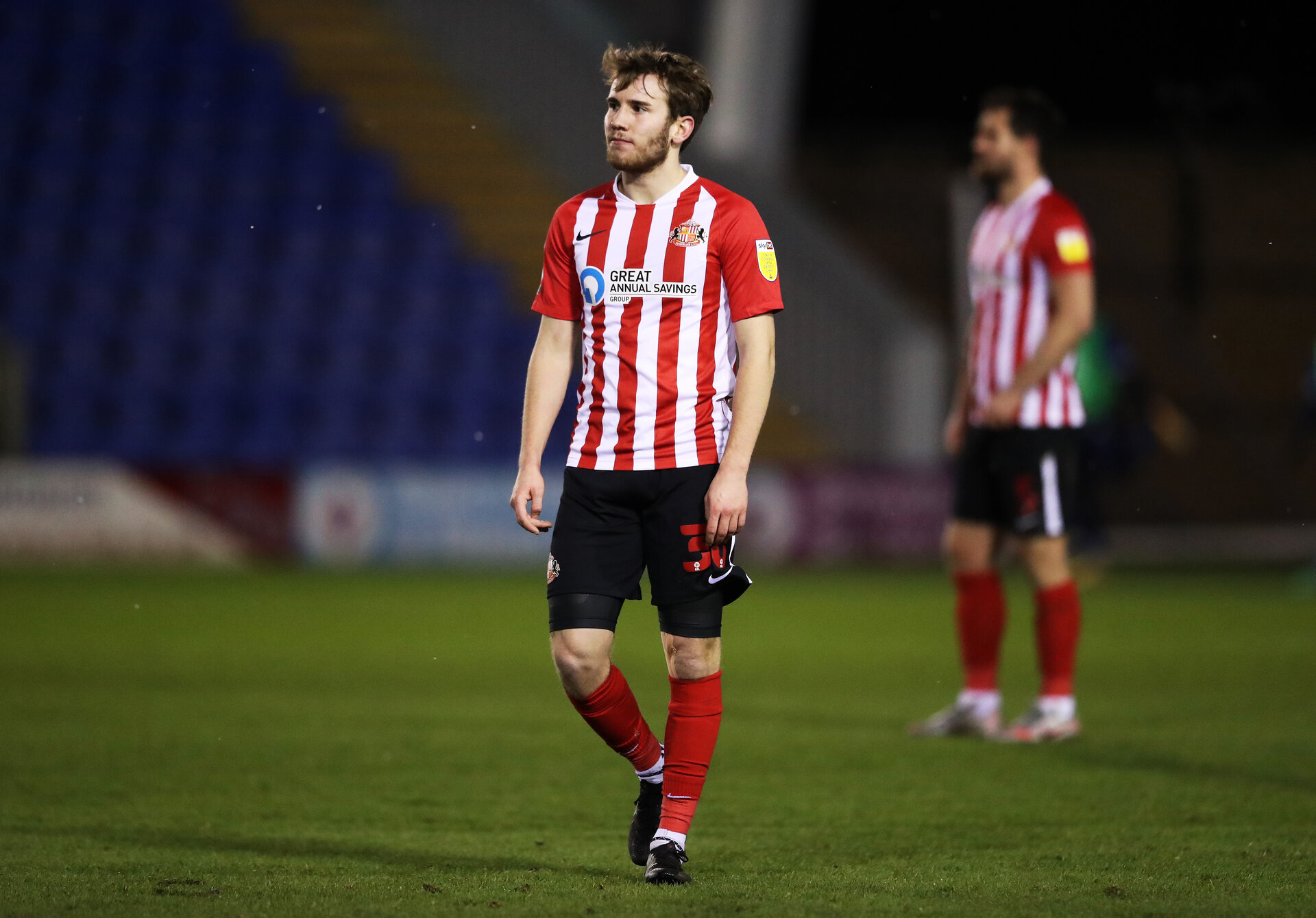SHREWSBURY, ENGLAND - FEBRUARY 09: Jake Vokins of Sunderland reacts during the Sky Bet League One match between Shrewsbury Town and Sunderland at Montgomery Waters Meadow on February 09, 2021 in Shrewsbury, England. Sporting stadiums around the UK remain under strict restrictions due to the Coronavirus Pandemic as Government social distancing laws prohibit fans inside venues resulting in games being played behind closed doors. (Photo by Naomi Baker/Getty Images)