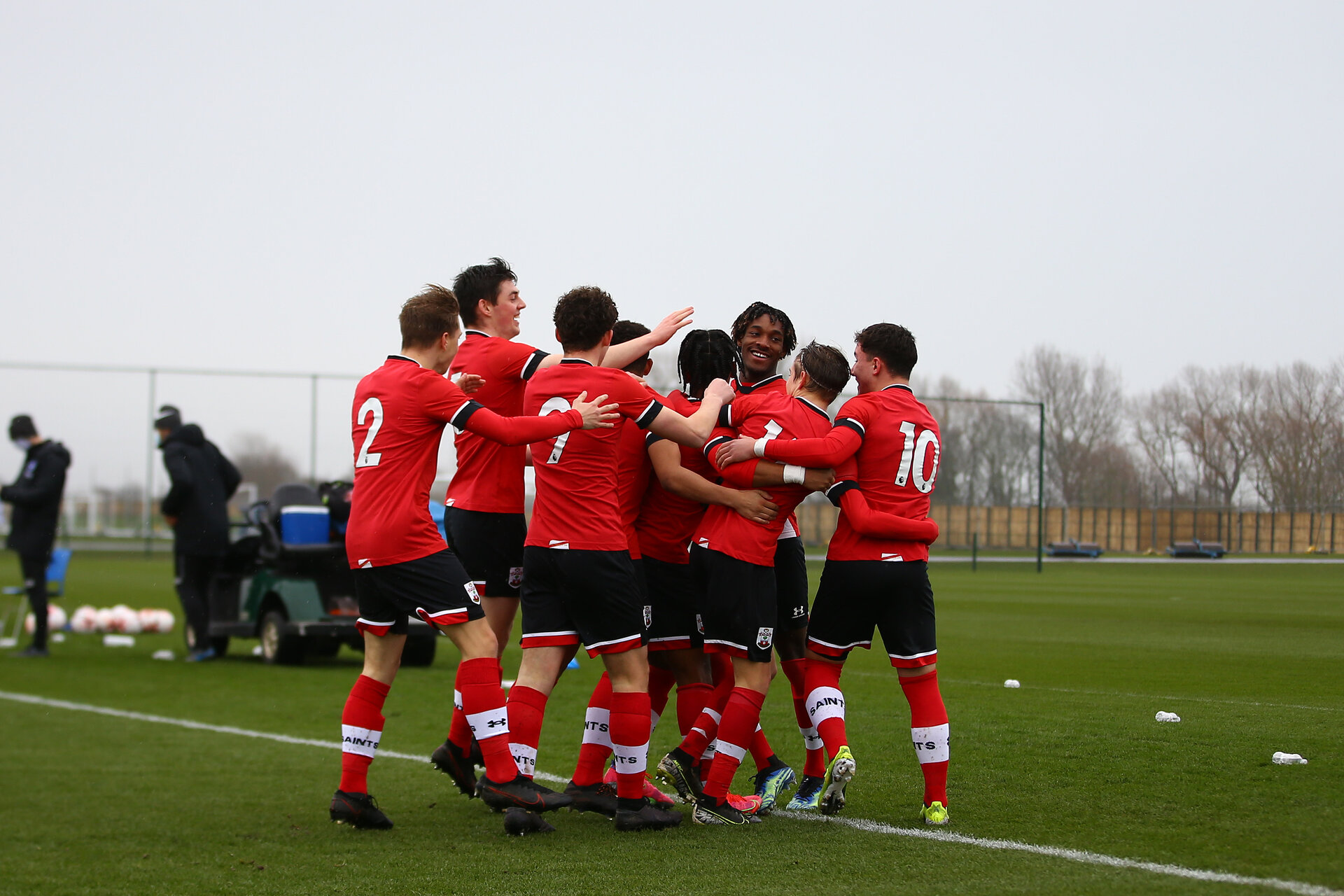 BRIGHTON, ENGLAND - FEBRUARY 16: Diamond Edwards of Southampton celebrates scoring with team mates during the Premier League U18s match between Brighton & Hove Albion and Southampton U18 at The Amex Elite Football Performance Center on February 16, 2021 in Brighton, England. (Photo by Isabelle Field/Southamtpon FC)
