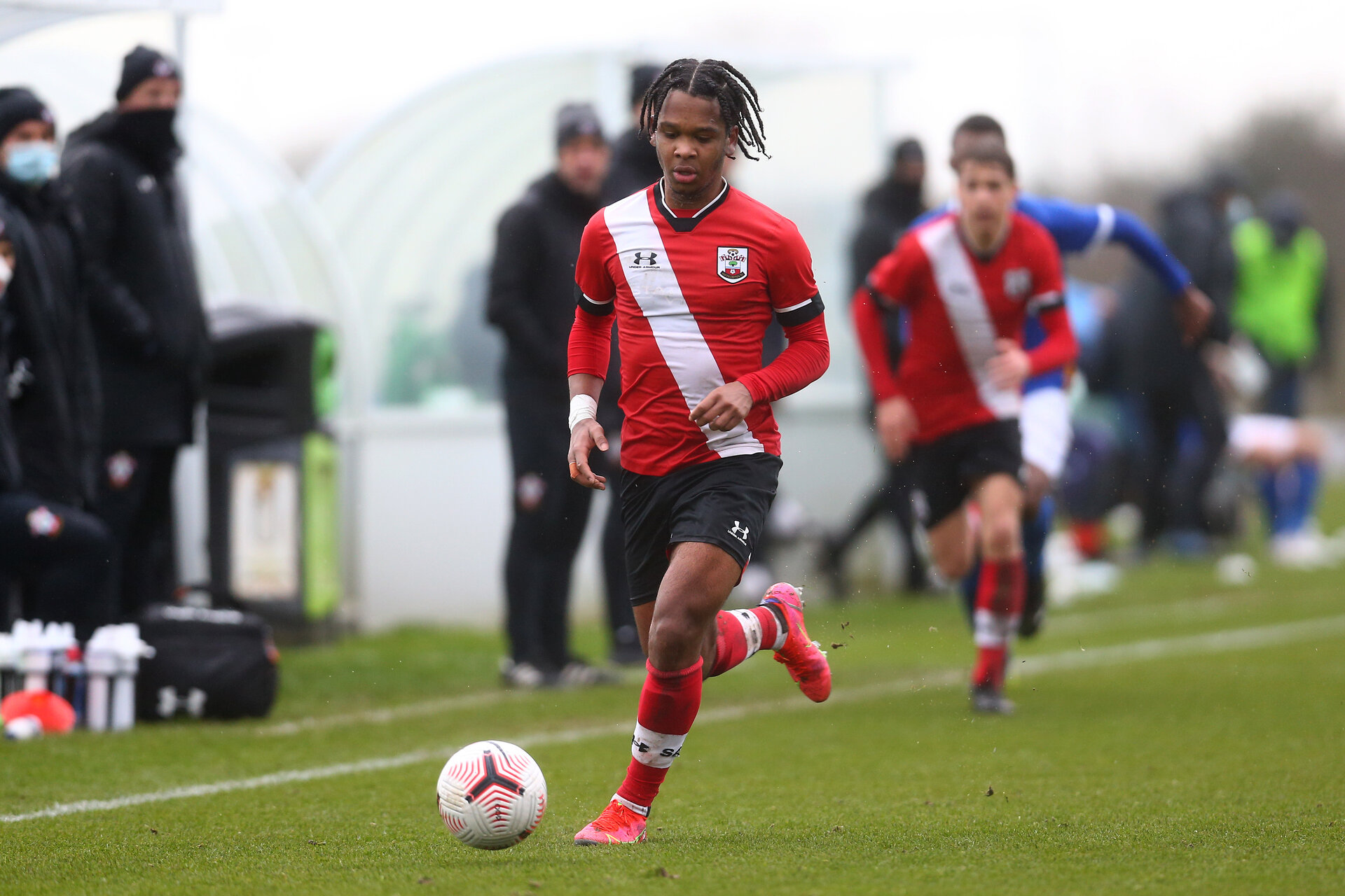 BRIGHTON, ENGLAND - FEBRUARY 16: Diamond Edwards of Southampton during the Premier League U18s match between Brighton & Hove Albion and Southampton U18 at The Amex Elite Football Performance Center on February 16, 2021 in Brighton, England. (Photo by Isabelle Field/Southamtpon FC)