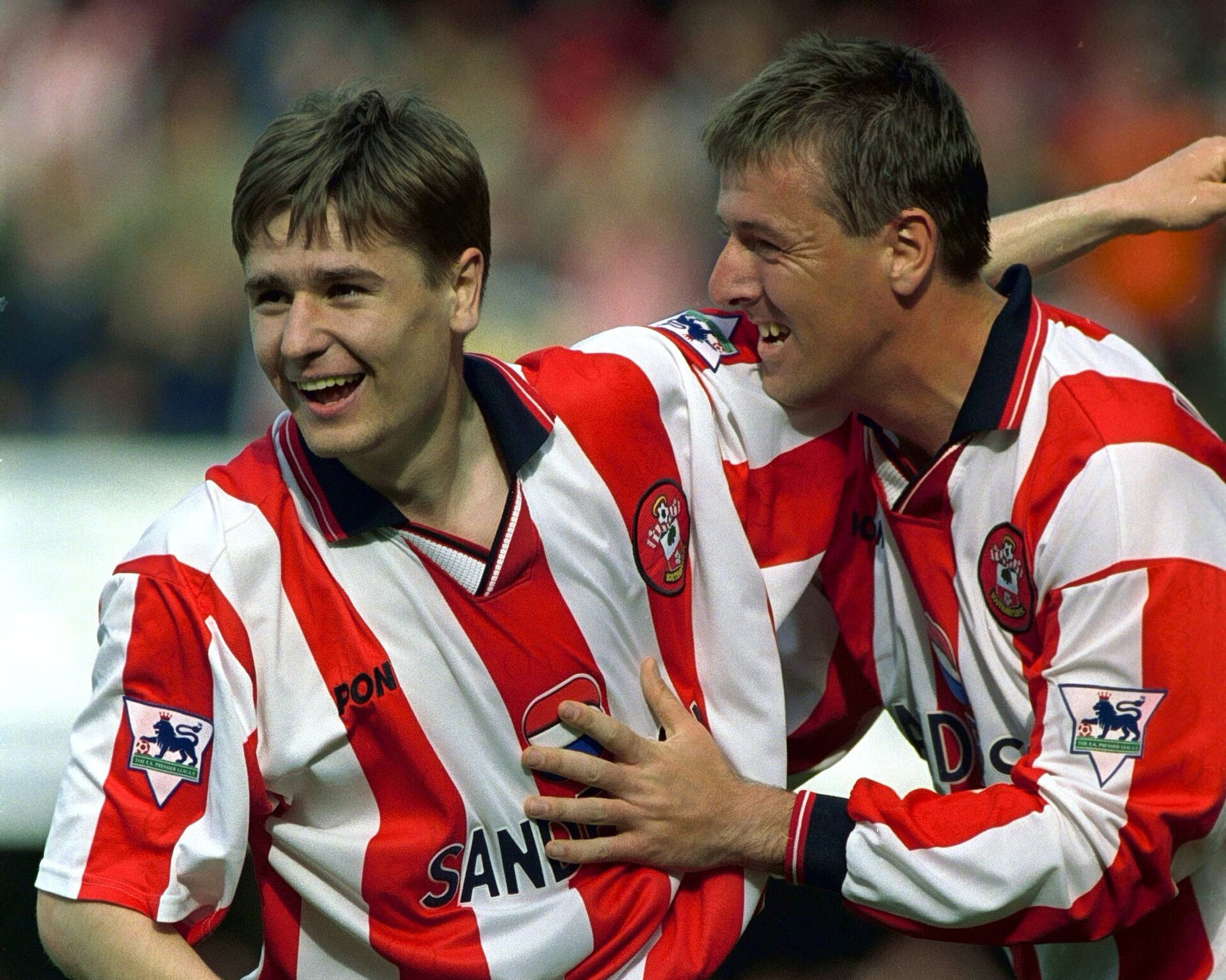 Southampton v Everton 16/5/99 F.A.Premier League  Mandatory Credit: Action Images/Alex Morton  Southampton's Matthew Le Tissier congratulates team mate Marian Pahars for his goal