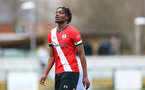 SOUTHAMPTON, ENGLAND - FEBRUARY 21: Allan Tchaptchet of Southampton during Premier League 2 match between Southampton B Team and Derby County U23s at The Snows Stadium on February 21, 2021 in Southampton, England. (Photo by Isabelle Field/Southampton FC via Getty Images)