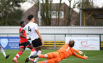 SOUTHAMPTON, ENGLAND - FEBRUARY 21: Kazeem Olaigbe (L) of Southampton opens the scoring during Premier League 2 match between Southampton B Team and Derby County U23s at The Snows Stadium on February 21, 2021 in Southampton, England. (Photo by Isabelle Field/Southampton FC via Getty Images)