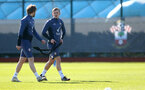 SOUTHAMPTON, ENGLAND - FEBRUARY 26: Stuart Armstrong(L) and James Ward-Prowse during a Southampton FC training session at the Staplewood Campus on February 26, 2021 in Southampton, England. (Photo by Matt Watson/Southampton FC via Getty Images)