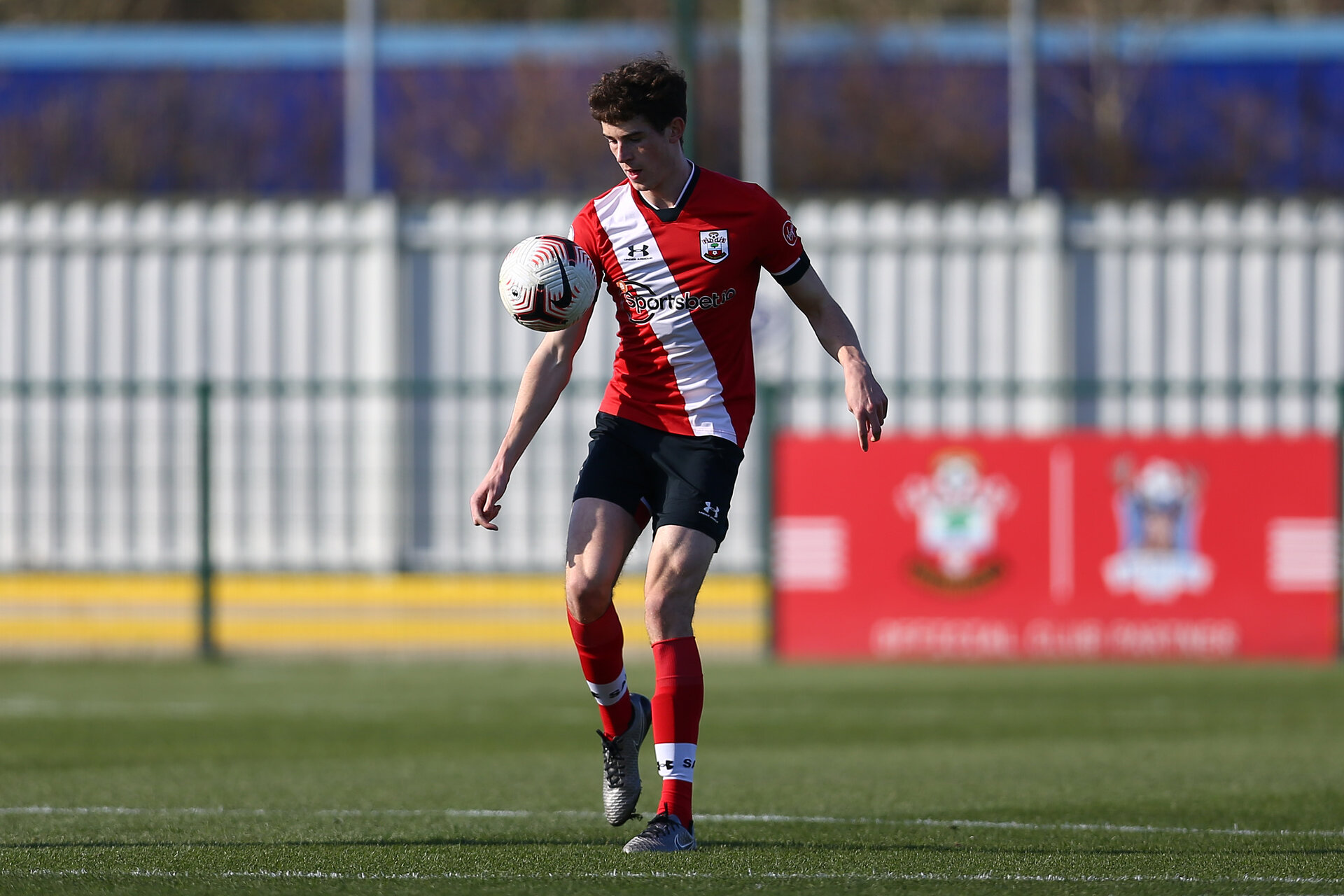 SOUTHAMPTON, ENGLAND - FEBRUARY 27: Will Tizzard of Southampton during Premier League 2 match between Southampton B Team and Manchester United U23s at The Snows Stadium on February 27, 2021 in Southampton, England. (Photo by Isabelle Field/Southampton FC via Getty Images)