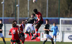 SOUTHAMPTON, ENGLAND - FEBRUARY 27: David Agbontohoma   (R) of Southampton during Premier League 2 match between Southampton B Team and Manchester United U23s at The Snows Stadium on February 27, 2021 in Southampton, England. (Photo by Isabelle Field/Southampton FC via Getty Images)