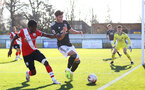 SOUTHAMPTON, ENGLAND - FEBRUARY 27: Zuriel Otseh-Taiwo of Southampton during Premier League 2 match between Southampton B Team and Manchester United U23s at The Snows Stadium on February 27, 2021 in Southampton, England. (Photo by Isabelle Field/Southampton FC via Getty Images)