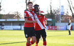 SOUTHAMPTON, ENGLAND - FEBRUARY 27: Kazeem Olaigbe(R) of Southampton goal celebration with Sam Bellis (L) of Southampton during Premier League 2 match between Southampton B Team and Manchester United U23s at The Snows Stadium on February 27, 2021 in Southampton, England. (Photo by Isabelle Field/Southampton FC via Getty Images)