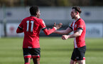 SOUTHAMPTON, ENGLAND - MARCH 06: Will Ferry, right, goal celebration during the Premier League 2 match between  Southampton B Team and Arsenal at Snows Stadium on March 06, 2021 in Southampton, England. (Photo by Chris Moorhouse/Southampton FC via Getty Images)