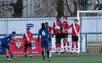SOUTHAMPTON, ENGLAND - MARCH 06: Saints defend againsta free-kick during the Premier League 2 match between  Southampton B Team and Arsenal at Snows Stadium on March 06, 2021 in Southampton, England. (Photo by Chris Moorhouse/Southampton FC via Getty Images)