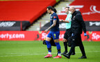 SHEFFIELD, ENGLAND - MARCH 06: Danny Ings of Southampton receives treatment after picking up an injury during the Premier League match between Sheffield United and Southampton at Bramall Lane on March 06, 2021 in Sheffield, England. Sporting stadiums around the UK remain under strict restrictions due to the Coronavirus Pandemic as Government social distancing laws prohibit fans inside venues resulting in games being played behind closed doors (Photo by Matt Watson/Southampton FC via Getty Images)