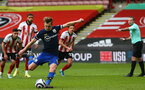 SHEFFIELD, ENGLAND - MARCH 06: James Ward-Prowse of Southampton takes penalty opening the scoring during the Premier League match between Sheffield United and Southampton at Bramall Lane on March 06, 2021 in Sheffield, England. (Photo by Matt Watson/SouthamptonFC)