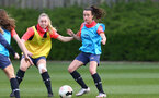 SOUTHAMPTON, ENGLAND - April 01: Kelly Snook (L) and Sophia Pharoah (R) during Southampton Women's training session at Staplewood Complex on April 01, 2021 in Southampton, England.  (Photo by Isabelle Field/Southampton FC via Getty Images)