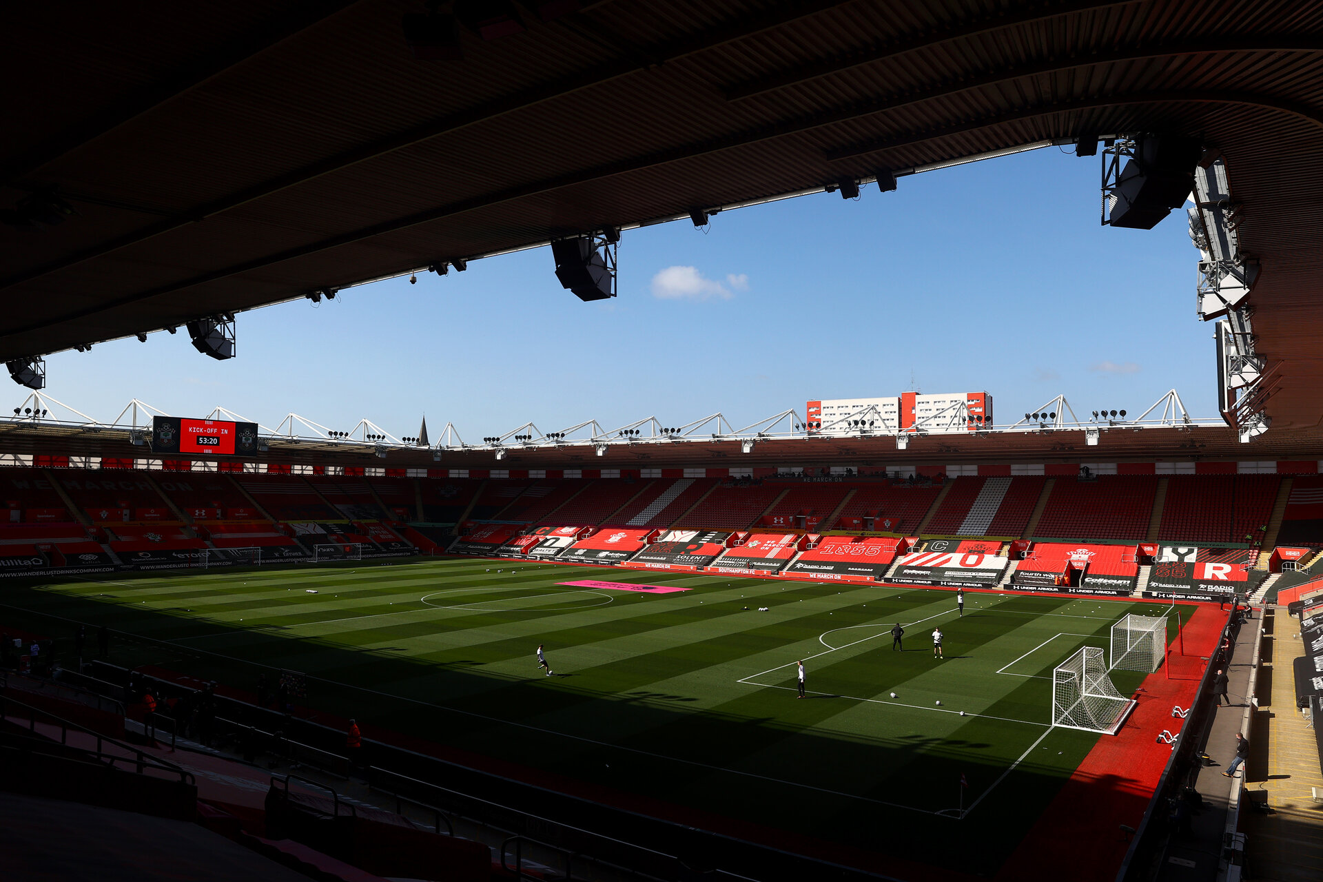 SOUTHAMPTON, ENGLAND - APRIL 04: during the Premier League match between Southampton and Burnley at St Mary's Stadium on April 04, 2021 in Southampton, England. Sporting stadiums around the UK remain under strict restrictions due to the Coronavirus Pandemic as Government social distancing laws prohibit fans inside venues resulting in games being played behind closed doors. (Photo by Matt Watson/Southampton FC via Getty Images)