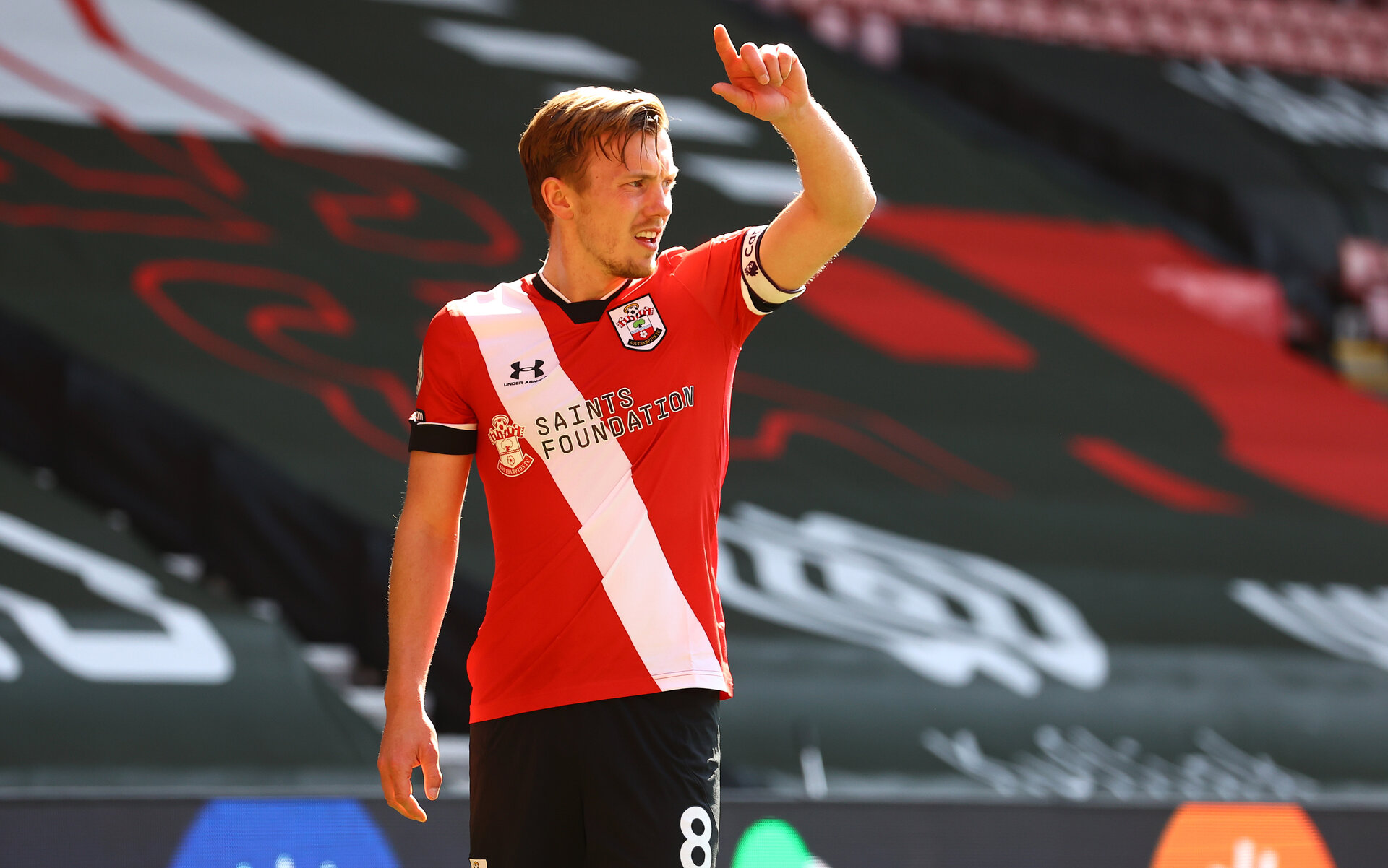 SOUTHAMPTON, ENGLAND - APRIL 04: James Ward-Prowse of during the Premier League match between Southampton and Burnley at St Mary's Stadium on April 04, 2021 in Southampton, England. Sporting stadiums around the UK remain under strict restrictions due to the Coronavirus Pandemic as Government social distancing laws prohibit fans inside venues resulting in games being played behind closed doors. (Photo by Matt Watson/Southampton FC via Getty Images)