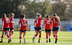 SOUTHAMPTON, ENGLAND - APRIL 04: Southampton players celebrate with team mate Lucia Kendall scoring first goal of the game during the Vitality Women's FA Cup second round match between Southampton Women and Plymouth Argyle Women at The Snows Stadium on April 04, 2021 in Southampton, England. (Photo by Isabelle Field/Southampton FC via Getty Images)