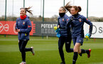 SOUTHAMPTON, ENGLAND - OCTOBER 21: Sophia Pharoah(L), Ella Pusey and Rachel Panting (R) during Southampton Women's training session at Staplewood Complex on October 21, 2020 in Southampton, England. (Photo by Isabelle Field/Southampton FC via Getty Images)