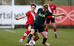 SOUTHAMPTON, ENGLAND - APRIL 10: Lewis Payne (L) of Southampton during the Premier League U18s match between Southampton U18 and Tottenham Hotspur at Staplewood Campus on April 10, 2021 in Southampton, England. (Photo by Isabelle Field/Southampton FC via Getty Images)