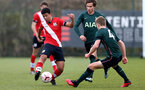 SOUTHAMPTON, ENGLAND - APRIL 10: Josh Squires (L) of Southampton during the Premier League U18s match between Southampton U18 and Tottenham Hotspur at Staplewood Campus on April 10, 2021 in Southampton, England. (Photo by Isabelle Field/Southampton FC via Getty Images)