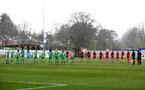 SOUTHAMPTON, ENGLAND - APRIL 11: Southampton and Yeovil players take part in a minute silence in memory of HRH The Prince Philip Duke of Edinburgh during the Vitality Women's FA Cup third round match between Southampton Women and Yeovil United Women at The Snows Stadium on April 11, 2021 in Southampton, England. (Photo by Isabelle Field/Southampton FC via Getty Images)