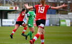 SOUTHAMPTON, ENGLAND - APRIL 11: Shannon Siewright (R) of Southampton goal celebration during the Vitality Women's FA Cup third round match between Southampton Women and Yeovil United Women at The Snows Stadium on April 11, 2021 in Southampton, England. (Photo by Isabelle Field/Southampton FC via Getty Images)