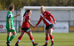 SOUTHAMPTON, ENGLAND - APRIL 11: Shannon Siewright (L) and Rosie Parnell (R) of Southampton during the Vitality Women's FA Cup third round match between Southampton Women and Yeovil United Women at The Snows Stadium on April 11, 2021 in Southampton, England. (Photo by Isabelle Field/Southampton FC via Getty Images)