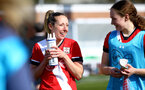 SOUTHAMPTON, ENGLAND - APRIL 11: Shelly Provan  (L) of Southampton during the Vitality Women's FA Cup third round match between Southampton Women and Yeovil United Women at The Snows Stadium on April 11, 2021 in Southampton, England. (Photo by Isabelle Field/Southampton FC via Getty Images)