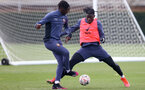 SOUTHAMPTON, ENGLAND - APRIL 14: Alexandre Jankewitz(L) and Mohammed Salisu during a Southampton FC training session at the Staplewood Campus, on April 14, 2021 in Southampton, England. (Photo by Matt Watson/Southampton FC via Getty Images)