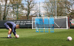 SOUTHAMPTON, ENGLAND - APRIL 16: James Ward-Prowse practices free-kicks during a Southampton FC training session at the Staplewood Campus on April 16, 2021 in Southampton, England. (Photo by Matt Watson/Southampton FC via Getty Images)