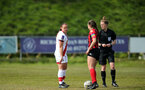 LEWES, ENGLAND - APRIL 18: Sains captain, Shannon Sievewright, during the Women's FA Cup 4th round match between Lewes FC and Southampton at The Dripping Pan on April 18, 2021 in Lewes, United Kingdom. Sporting stadiums around the UK remain under strict restrictions due to the Coronavirus pandemic as UK government social distancing laws prohibit fans inside venues resulting in games being played behind closed doors. (Photo by Chris Moorhouse/Southampton FC via Getty Images)