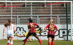LEWES, ENGLAND - APRIL 18: Kayla Rendell saves a penalty during the Women's FA Cup 4th round match between Lewes FC and Southampton at The Dripping Pan on April 18, 2021 in Lewes, United Kingdom. Sporting stadiums around the UK remain under strict restrictions due to the Coronavirus pandemic as UK government social distancing laws prohibit fans inside venues resulting in games being played behind closed doors. (Photo by Chris Moorhouse/Southampton FC via Getty Images)