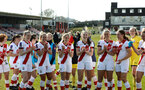 LEWES, ENGLAND - APRIL 18: Saints at full-time during the Women's FA Cup 4th round match between Lewes FC and Southampton at The Dripping Pan on April 18, 2021 in Lewes, United Kingdom. Sporting stadiums around the UK remain under strict restrictions due to the Coronavirus pandemic as UK government social distancing laws prohibit fans inside venues resulting in games being played behind closed doors. (Photo by Chris Moorhouse/Southampton FC via Getty Images)