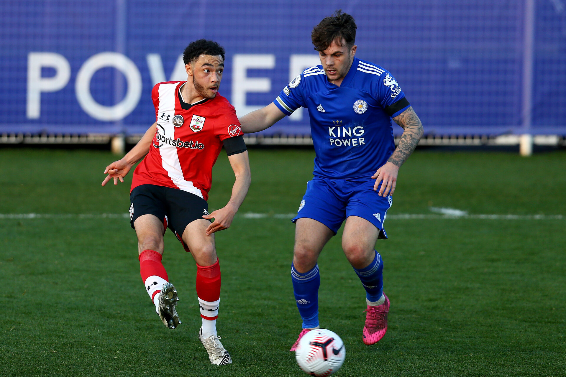 LEICESTER, ENGLAND - APRIL 19:  during the Premier League 2 match between Leicester City and Southampton B Team at the Leicester City Training Ground on April 19, 2021 in Leicester, England.  (Photo by Isabelle Field/Southampton FC via Getty Images)