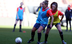 SOUTHAMPTON, ENGLAND - April 22: Shelly Provan (L) and Alisha Ware (R) during Southampton Women's training session at St Mary's Stadium on April 22, 2021 in Southampton, England.  (Photo by Isabelle Field/Southampton FC via Getty Images)