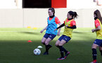 SOUTHAMPTON, ENGLAND - April 22: Charley Evans (L) and Laura De Silva (R) during Southampton Women's training session at St Mary's Stadium on April 22, 2021 in Southampton, England.  (Photo by Isabelle Field/Southampton FC via Getty Images)