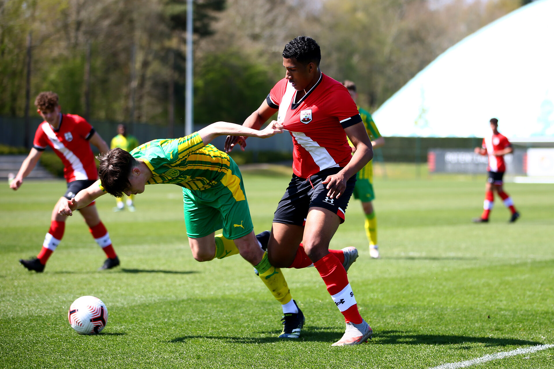 SOUTHAMPTON, ENGLAND - APRIL 24:  during the Premier League U18s match between Southampton U18 and West Bromwich Albion at Staplewood Campus on April 24, 2021 in Southampton, England. (Photo by Isabelle Field/Southampton FC via Getty Images)