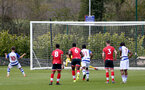 READING, ENGLAND - APRIL 27: Oliver Wright of Southampton saves penalty during the Premier League U18s match between Reading and Southampton U18s at Bearwood Park Training Ground on April 27, 2021 in Reading, England. (Photo by Isabelle Field/Southampton FC via Getty Images)