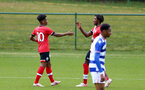 READING, ENGLAND - APRIL 27: Fedel Ross-Lang (L) of Southampton celebrates scoring with team mate Ramello Mitchell (R) of Southampton during the Premier League U18s match between Reading and Southampton U18s at Bearwood Park Training Ground on April 27, 2021 in Reading, England. (Photo by Isabelle Field/Southampton FC via Getty Images)
