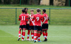 READING, ENGLAND - APRIL 27: Fedel Ross-Lang of Southampton celebrates with his team mates after scoring during the Premier League U18s match between Reading and Southampton U18s at Bearwood Park Training Ground on April 27, 2021 in Reading, England. (Photo by Isabelle Field/Southampton FC via Getty Images)