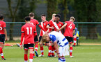 READING, ENGLAND - APRIL 27: Fedel Ross-Lang of Southampton celebrating scoring his second with his team mates during the Premier League U18s match between Reading and Southampton U18s at Bearwood Park Training Ground on April 27, 2021 in Reading, England. (Photo by Isabelle Field/Southampton FC via Getty Images)