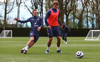 SOUTHAMPTON, ENGLAND - MAY 05: James Ward-Prowse(L) and Jannik Vestergaard during a Southampton FC training session at the Staplewood Campus on May 05, 2021 in Southampton, England. (Photo by Matt Watson/Southampton FC via Getty Images)