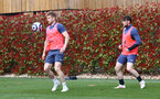 SOUTHAMPTON, ENGLAND - MAY 05: Stuart Armstrong(L) and Will Ferry during a Southampton FC training session at the Staplewood Campus on May 05, 2021 in Southampton, England. (Photo by Matt Watson/Southampton FC via Getty Images)