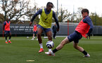 SOUTHAMPTON, ENGLAND - MAY 05: Dan N'Lundulu(L) and Will Ferry during a Southampton FC training session at the Staplewood Campus on May 05, 2021 in Southampton, England. (Photo by Matt Watson/Southampton FC via Getty Images)