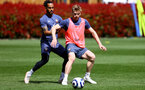 SOUTHAMPTON, ENGLAND - MAY 05: Theo Walcott(L) and Stuart Armstrong during a Southampton FC training session at the Staplewood Campus on May 05, 2021 in Southampton, England. (Photo by Matt Watson/Southampton FC via Getty Images)