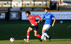 SOUTHPORT, ENGLAND - MAY 07: Oludare Olufunwa (L) of Southampton during the Premier League 2 match between Everton and Southampton B Team at the The Pure Stadium on May 07, 2021 in Southport, England.  (Photo by Isabelle Field/Southampton FC via Getty Images)