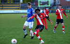 SOUTHPORT, ENGLAND - MAY 07: Ramello Mitchell (L) of Southampton during the Premier League 2 match between Everton and Southampton B Team at the The Pure Stadium on May 07, 2021 in Southport, England.  (Photo by Isabelle Field/Southampton FC via Getty Images)