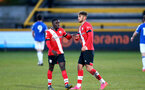 SOUTHPORT, ENGLAND - MAY 07: Lucas Defise (L) of Southampton and Benni Smales-Braithwaite (R) of Southampton during the Premier League 2 match between Everton and Southampton B Team at the The Pure Stadium on May 07, 2021 in Southport, England.  (Photo by Isabelle Field/Southampton FC via Getty Images)