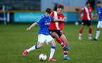 SOUTHPORT, ENGLAND - MAY 07: Sam Bellis (R) of Southampton during the Premier League 2 match between Everton and Southampton B Team at the The Pure Stadium on May 07, 2021 in Southport, England.  (Photo by Isabelle Field/Southampton FC via Getty Images)