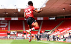 SOUTHAMPTON, ENGLAND - MAY 15: Nathan Tella of Southampton goal celebration during the Premier League match between Southampton and Fulham at St Mary's Stadium on May 15, 2021 in Southampton, England. Sporting stadiums around the UK remain under strict restrictions due to the Coronavirus Pandemic as Government social distancing laws prohibit fans inside venues resulting in games being played behind closed doors.  (Photo by Matt Watson/Southampton FC via Getty Images)