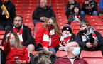 SOUTHAMPTON, ENGLAND - MAY 18: Saints fans during the Premier League match between Southampton and Leeds United at St Mary's Stadium on May 15, 2021 in Southampton, United Kingdom. (Photo by Chris Moorhouse/Southampton FC via Getty Images)