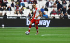 LONDON, ENGLAND - MAY 23: Jan Bednarek of Southampton during the Premier League match between West Ham United and Southampton at London Stadium on May 23, 2021 in London, England. (Photo by Matt Watson/Southampton FC via Getty Images)